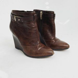 Coach Leather Melody Wedge Boots